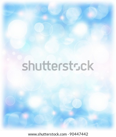 Abstract blue holiday background, beautiful shiny Christmas lights, glowing magic bokeh - stock photo