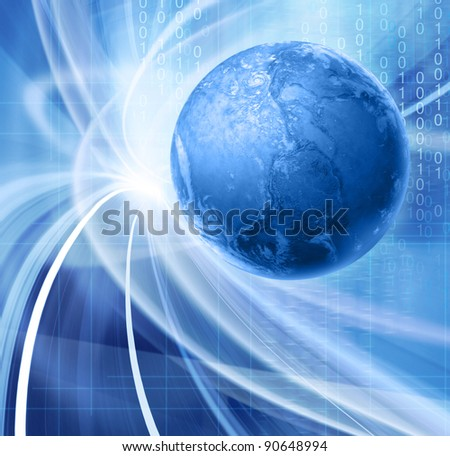 Abstract blue illustration for global communications technology with images of planet Earth and floating binary code