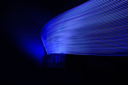 Abstract blue LED neon light lamp on long exposure shot.
