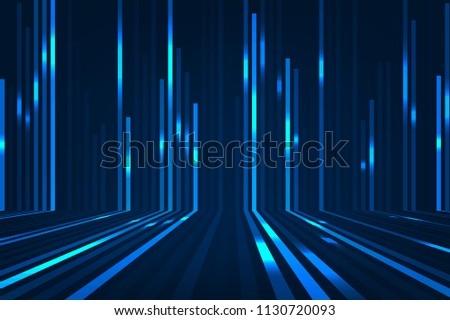 Abstract blue lines on dark background. Magic light effects. Graphic concept for your design.