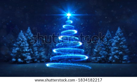 Abstract blue lines shaped as christmas tree over the night forest background. Christmas holiday card design. 3D illustration.