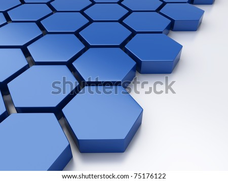 Abstract blue metallic background with hexagons and place