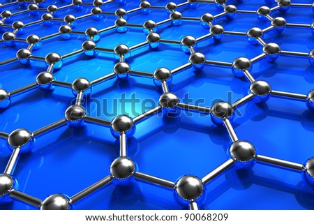 Abstract blue molecular nanostructure model