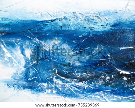 Abstract blue painting background. Painting on canvas. Modern art. Contemporary art.  Like sea, snow, winter