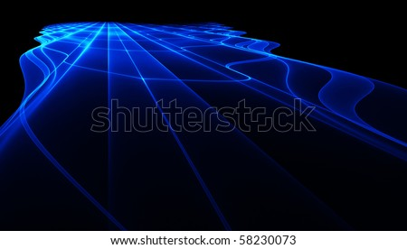Abstract blue perspective fractal surface