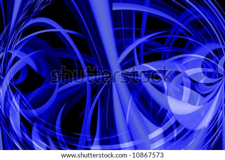 Abstract blue perspective space with the black background