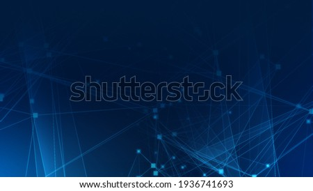 Abstract blue polygon tech network with connect technology background. Abstract dots and lines texture background. 3d rendering.