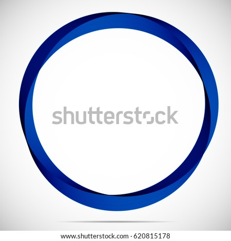 Abstract blue round frame on a light background.
