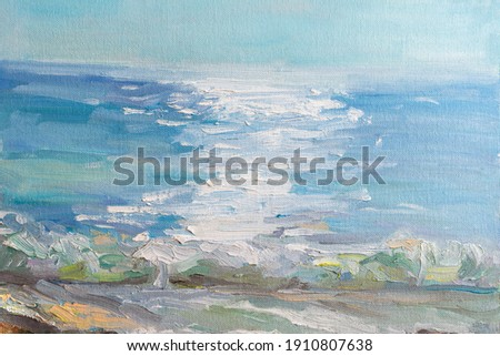 Abstract blue sea background with oil paint. Summer art background. Natural light blue texture of the waves. Impressionism in painting. Marine etude. Macrophotography of paint strokes.Contemporary Art