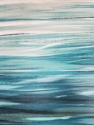 Abstract blue sea wave art painting closeup