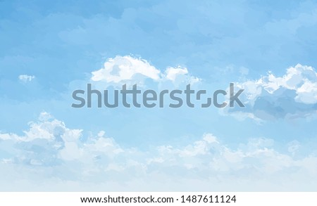 Abstract blue sky with fluffy clouds painted with water color texture background. Digital painting. ストックフォト ©