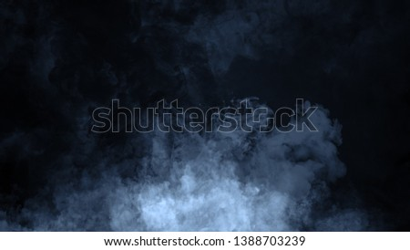 Abstract blue smoke steam moves on a black background . The concept of aromatherapy #1388703239