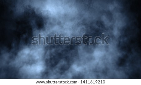 Abstract blue smoke steam moves on a black background . The concept of aromatherapy.