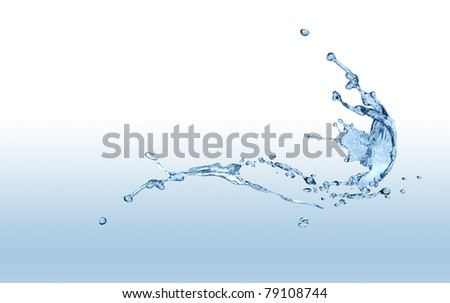 Abstract blue splashing water isolated on gradient background