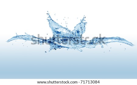 Abstract blue splashing water isolated on white background