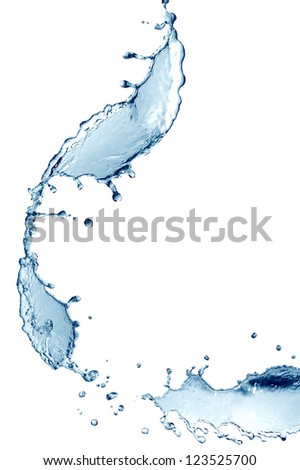 Abstract blue splashing water on white background