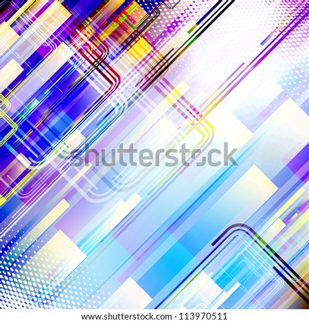 Abstract blue techno background. Rasterized version