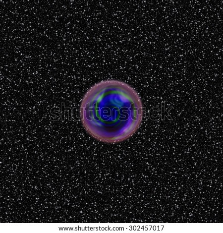 Abstract blue textured round shape with purple ring on black area with white gleaming points - planet disappearing in reverse continuum - digital render