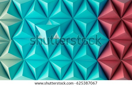 Abstract blue to red paper poly  made from  tetrahedron background. Usefull for business cards and web. #625387067