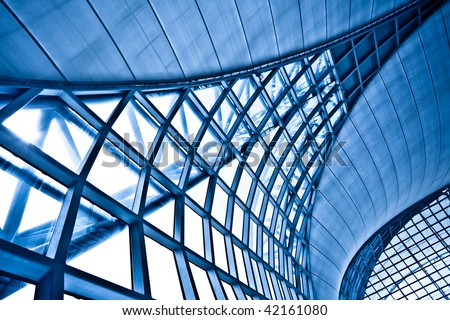 Abstract blue wall interior background, horizontal left composition #42161080