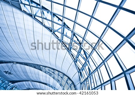 Abstract blue wall interior background, horizontal right composition #42161053