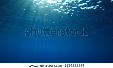 Abstract blue water background and sunburst  #1134225266