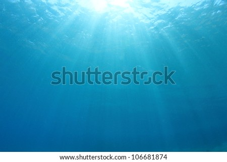 Abstract blue water background with sunbeams #106681874