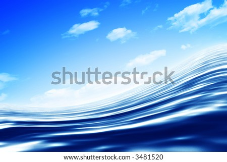 Abstract blue water under blue sky. Render