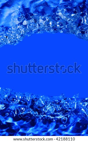 abstract blue water with bubbles