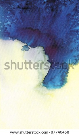 Abstract blue watercolor : flow wet on wet paper art