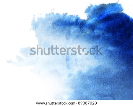 Abstract blue watercolor hand painted background