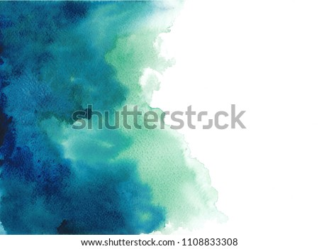 abstract blue watercolor splash at corner on white background,blue watercolor banner for web design. illustration. texture with space for text .wet watercolor techniques.