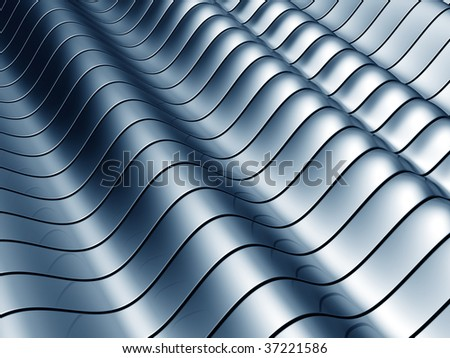 Abstract blue wave steel background 3d illustration