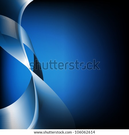 Abstract Blue Waves, Isolated On Black Background
