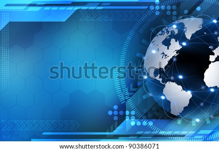 Abstract blue world and technology background
