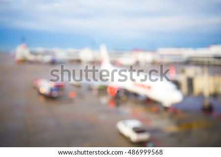 Abstract blur airplane at the airport. Traveling concept #486999568