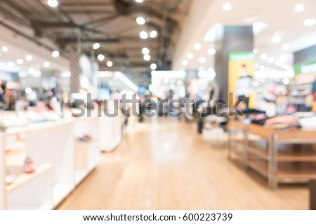 Abstract blur and bokeh beautiful luxury shopping mall and department store interior for background