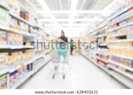 Abstract blur and bokeh supermarket and shopping mall interior for background