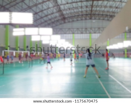 Abstract blur and defocused badminton court use for background. #1175670475