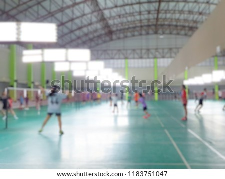 Abstract blur and defocused badminton court use for background. #1183751047