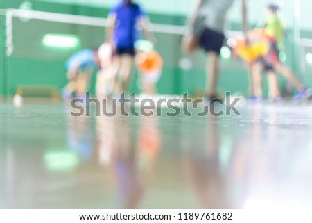 Abstract blur and defocused badminton court use for background. #1189761682