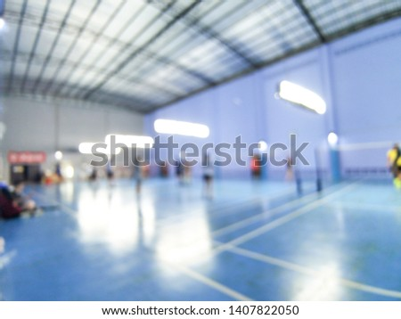 Abstract blur and defocused badminton court use for background. #1407822050