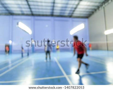 Abstract blur and defocused badminton court use for background. #1407822053