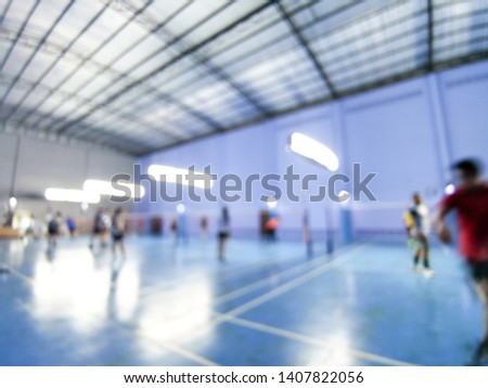 Abstract blur and defocused badminton court use for background. #1407822056