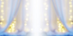 Abstract blur background of white curtain with light bulb bokeh at window in bedroom. Good night, sweet dream and relax concept.Banner background with copy space.