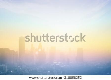 Abstract blur big city skyline landscape sunrise background. Bangkok city, Thailand, Asia #318858353