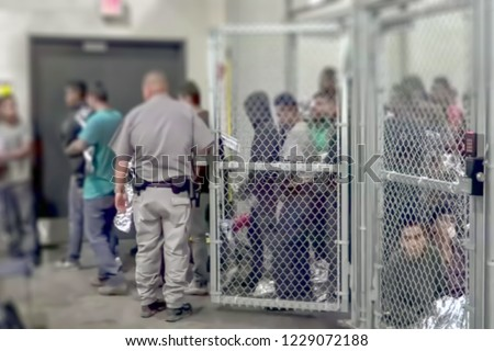 Abstract, blur, bokeh background, defocusing - image for the background. The concept of illegal migration from Mexico to the United States Foto stock ©