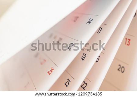 Abstract blur calendar page flipping sheet close up background