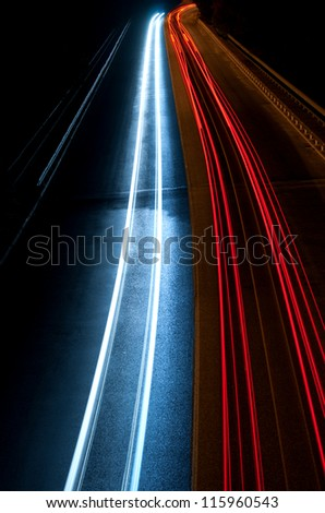 Abstract  blur car lights in the tunnel.Near to Veliko Tarnovo