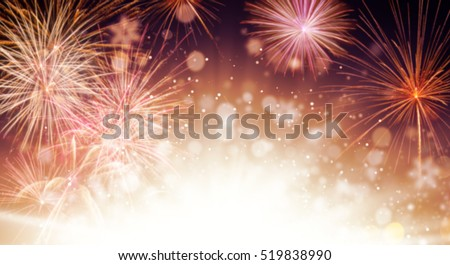 Abstract blur colored firework background with free space for text #519838990